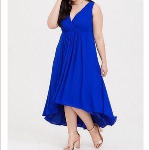 Torrid Chiffon Dress cocktail Hi-Low Royal Blue